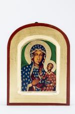 Ikona Matka Boża Częstochowska (bardzo mała) zaokrąglona - ,