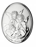 Aniołki nad dzieckiem obrazek srebrny 000605 T8 - 605 ,