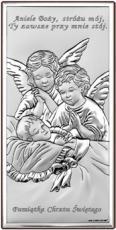 Aniołki nad dzieciątkiem obrazek srebrny 6468S/2X - 6468S/2X,