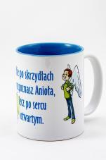 Kubek - Nie po skrzydłach rozpoznasz Anioła, lecz po sercu otwartym niebieski - ,