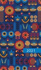 Terminarz tygodniowy kolorowy - Ornament - Z tygodnia na tydzień 2021 roku,